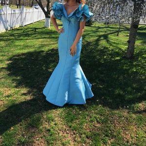 Tarik Ediz Blue Prom Dress